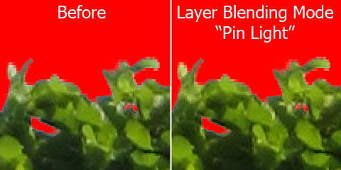 "Mix the layer via layer blending mode ""pin light"""