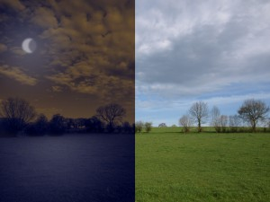 Before-After comparison – day and night change in Photoshop
