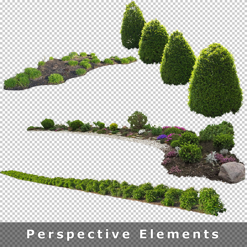 Cutout plants v01 graphics for architecture for Garden design elements