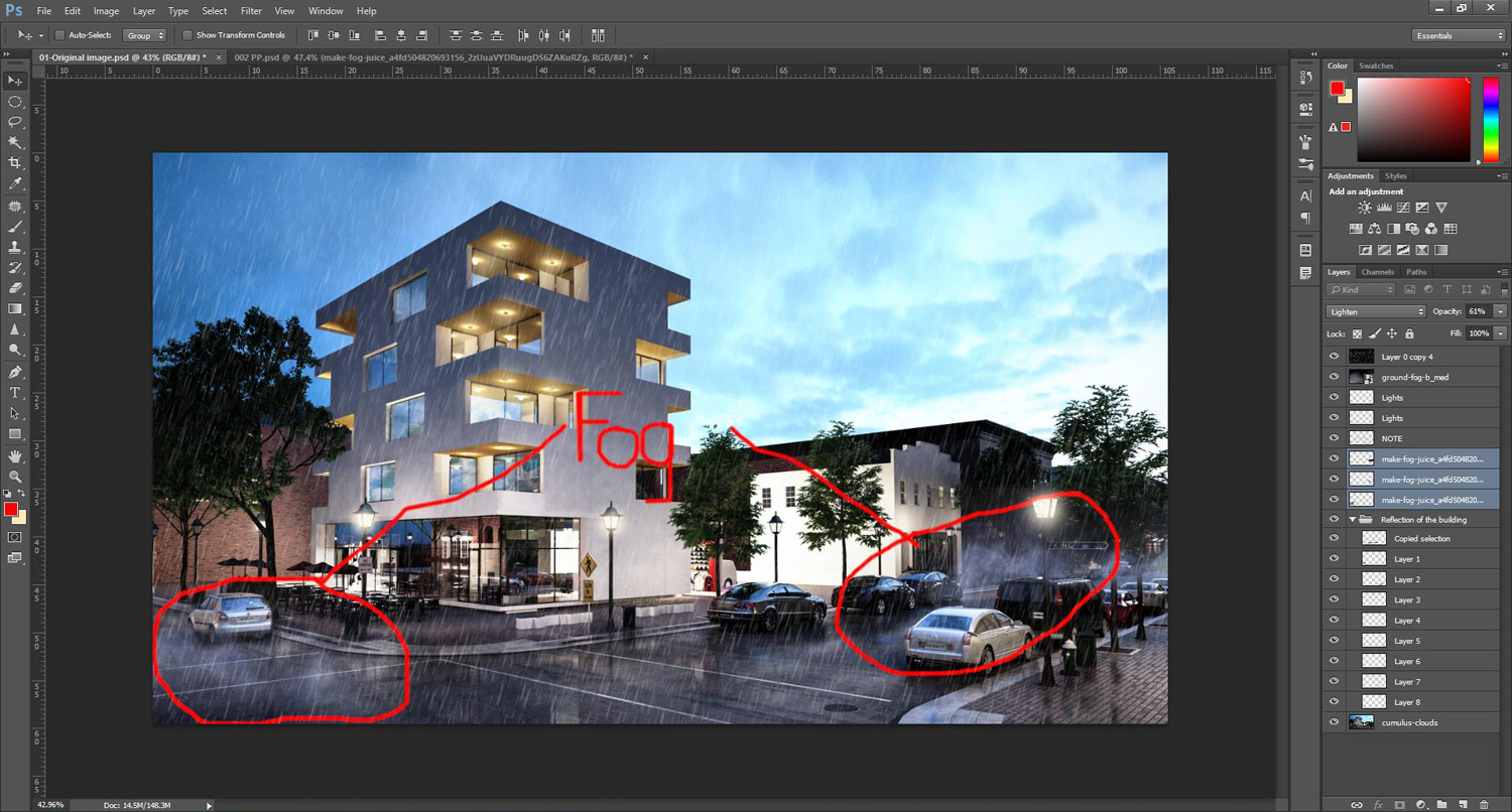 Photoshop tutorial how to add rain effect to architectural rendering 16how to create fog in photoshop tutorial580 baditri Gallery