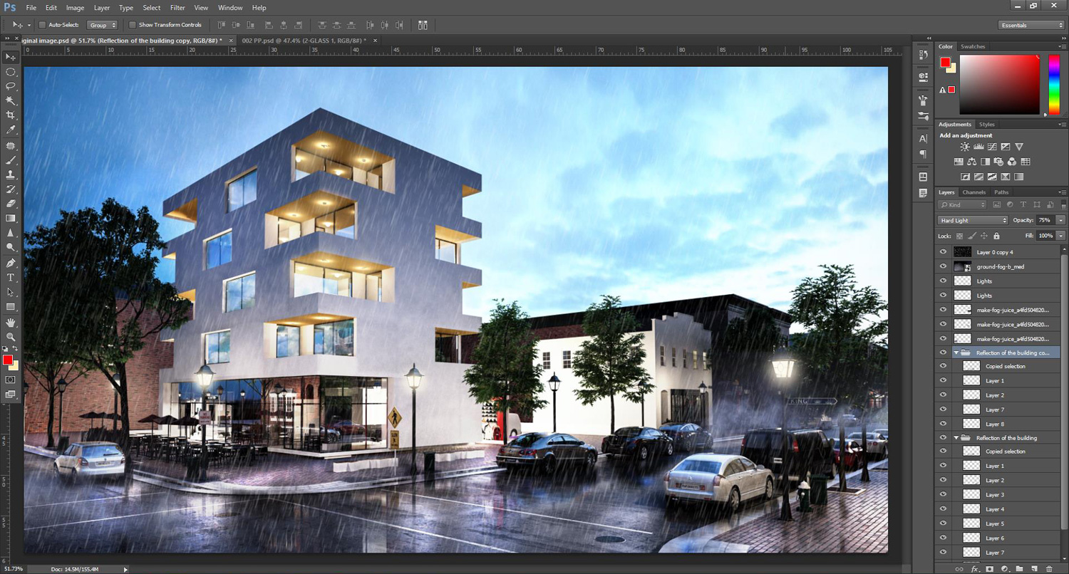 Photoshop tutorial how to add rain effect to architectural rendering 18photoshop rain reflections tutorial580 baditri Choice Image