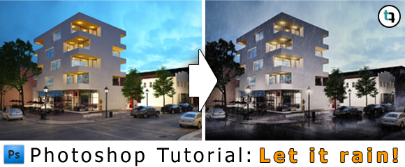 Architecture Tutorial Photoshop Add Rain to Rendering