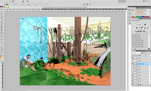 Resizing the illustration in Adobe Photoshop