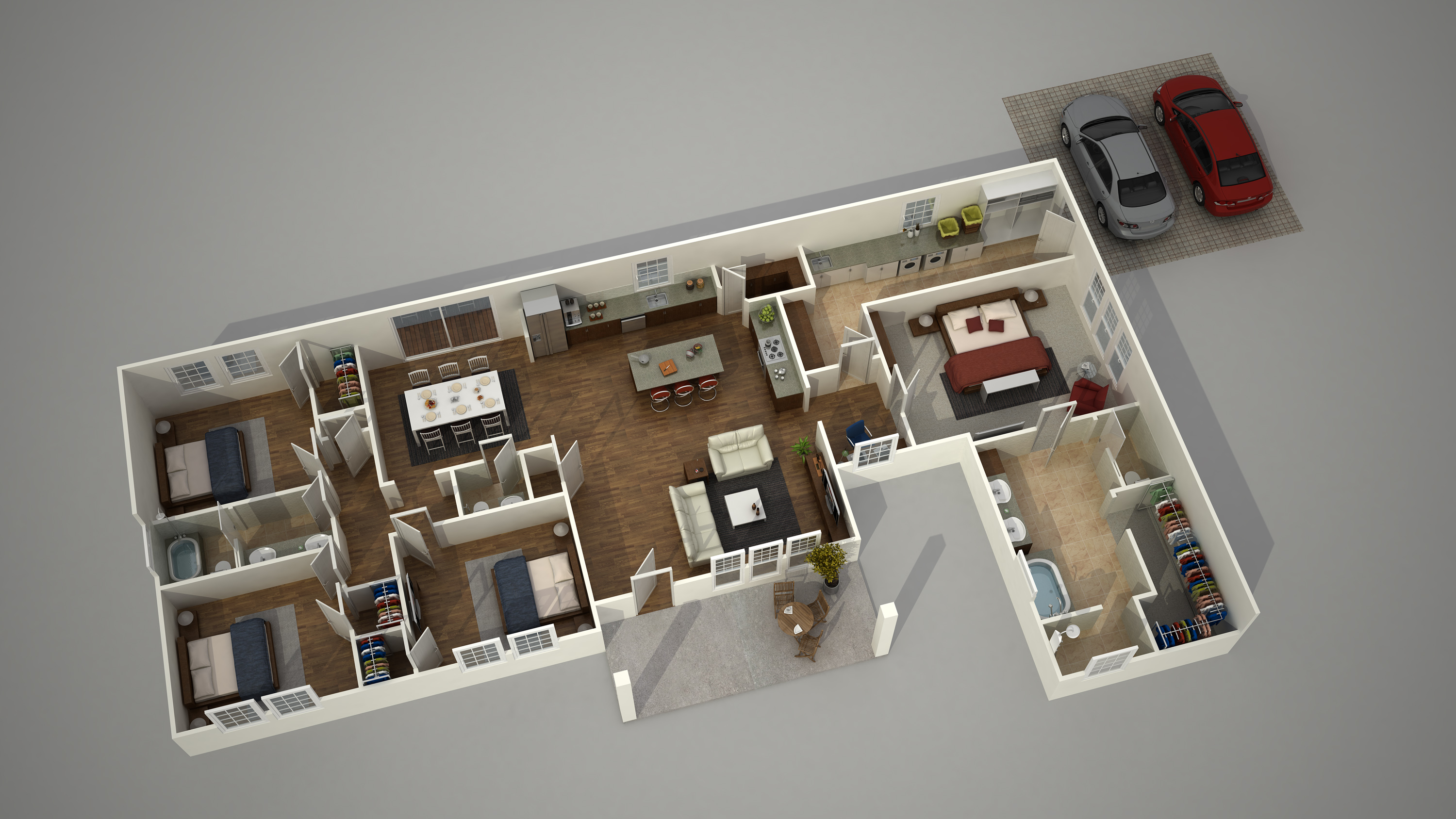 3d ground floor plan rendering isometric view - 3d Plan Drawing