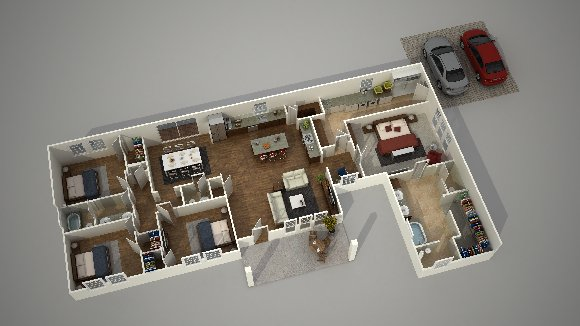 3d ground floor plan rendering isometric view