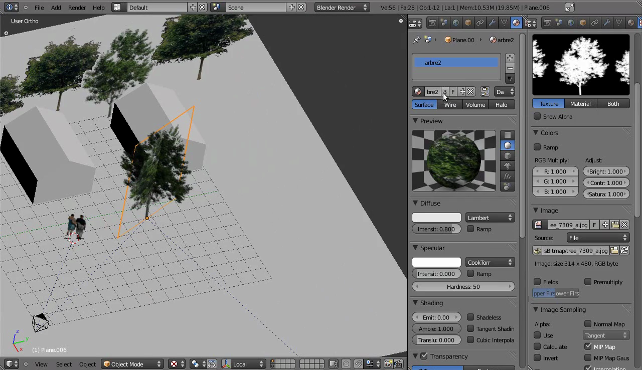 How to use 2D Cutout Trees and People (png) in 3D Blender