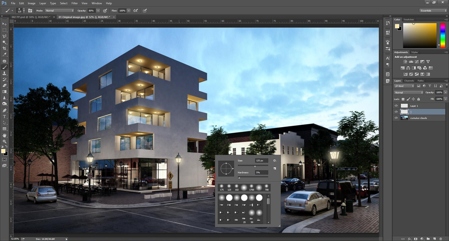 Photoshop Tutorial: How to add rain effect to architectural rendering
