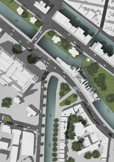 Adding shadow to the water surface of urban design visualization