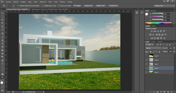 photoshop architecture tutorial - rendering layer